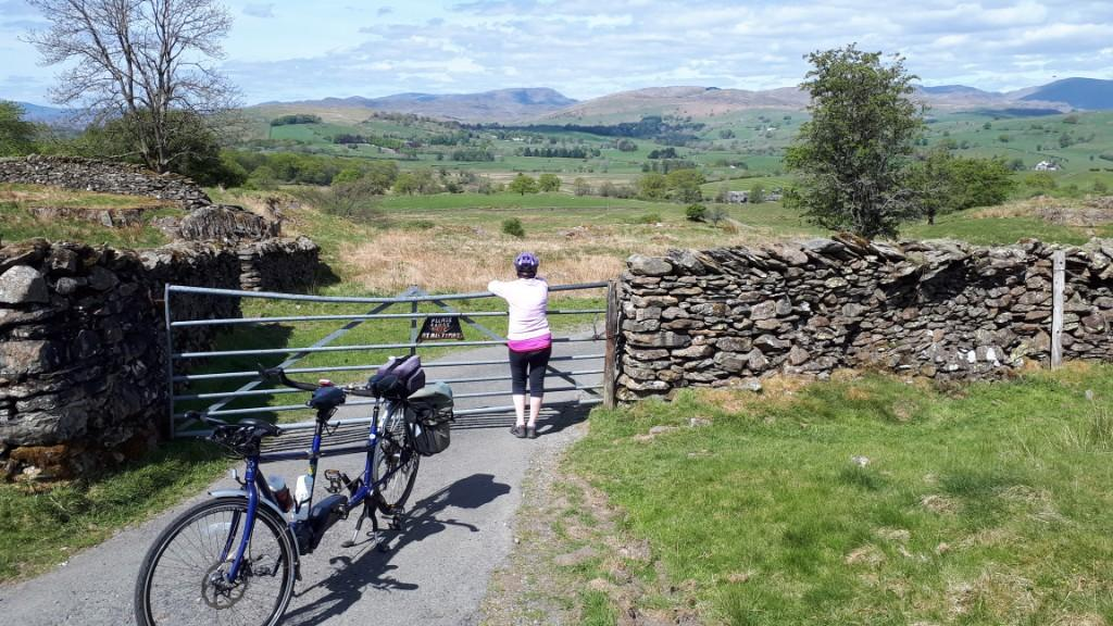 Jeanette overlooking the Kentmere Fells